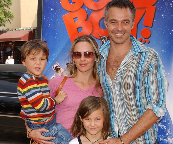 Cameron and Alison attend the film premiere of *Good Boy!* with children River and Lotus in LA in 2003.