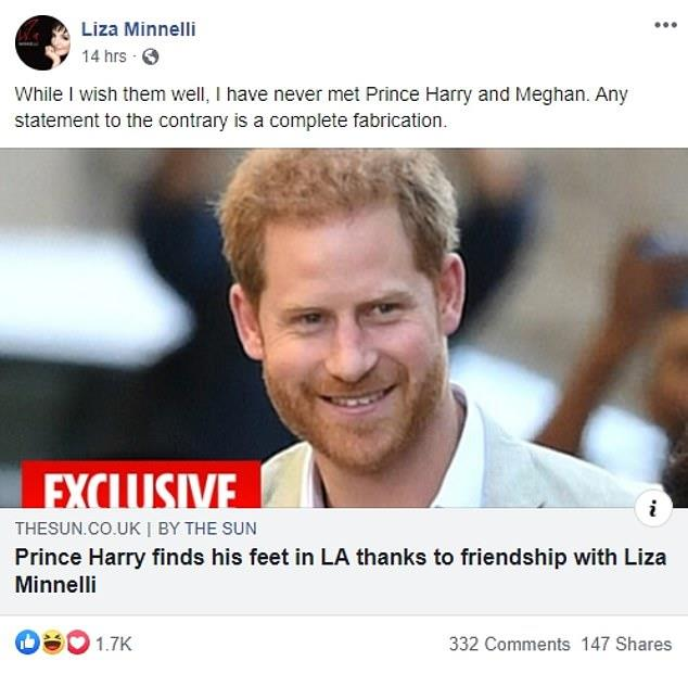 Liza Minnelli posted an update on her friendship with Prince Harry.