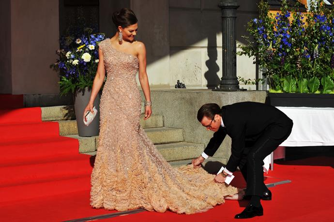 Recognise the dress from somewhere? Victoria is pictured wearing it here on the eve of her wedding back in 2010.