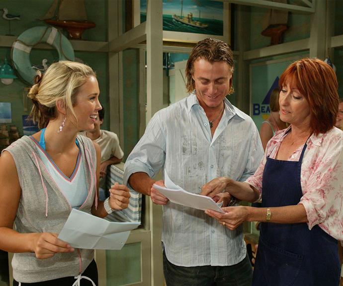 Bec, Lleyton and Lynne rehearse their lines.