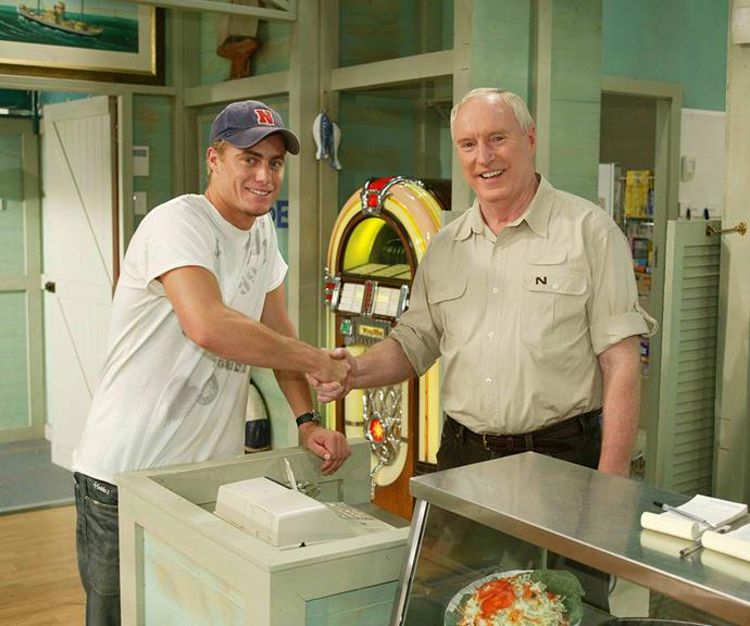 """Lleyton gets some pointers from [*Home And Away* legend Ray Meagher.](https://www.nowtolove.com.au/celebrity/tv/ray-meagher-home-and-away-cast-killed-off-62481