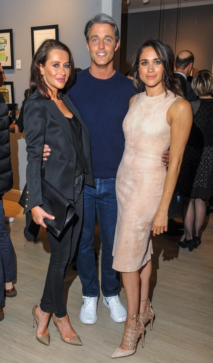 Meghan Markle, pictured with Jessica Mulroney and her husband Ben Mulroney.