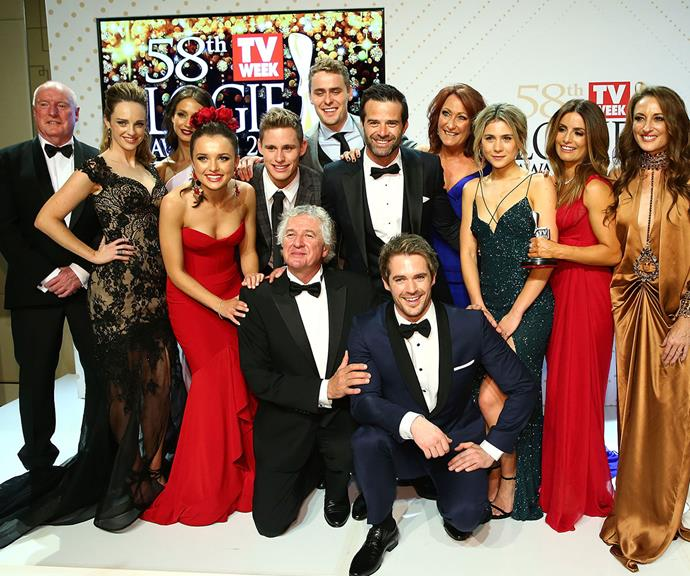 **First place: Home And Away, 46 Logies** <br><br> There's scarcely been a dull day in Summer Bay since *Home And Away* burst onto our screens in 1988. The range of star talents who have passed through, and the extent of the dramas they've had to contend with, has helped the series keep pace with the changing face of television.  <br><br> For the stellar talent it has showcased and its ability to evolve with the times, there's no surprise Home And Away is the most-awarded show in Logies history.