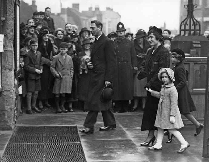 The Duke and Duchess of York (later King George VI and Queen Elizabeth) arriving at a church service with Princess Margaret and then Princess Elizabeth in 1936.