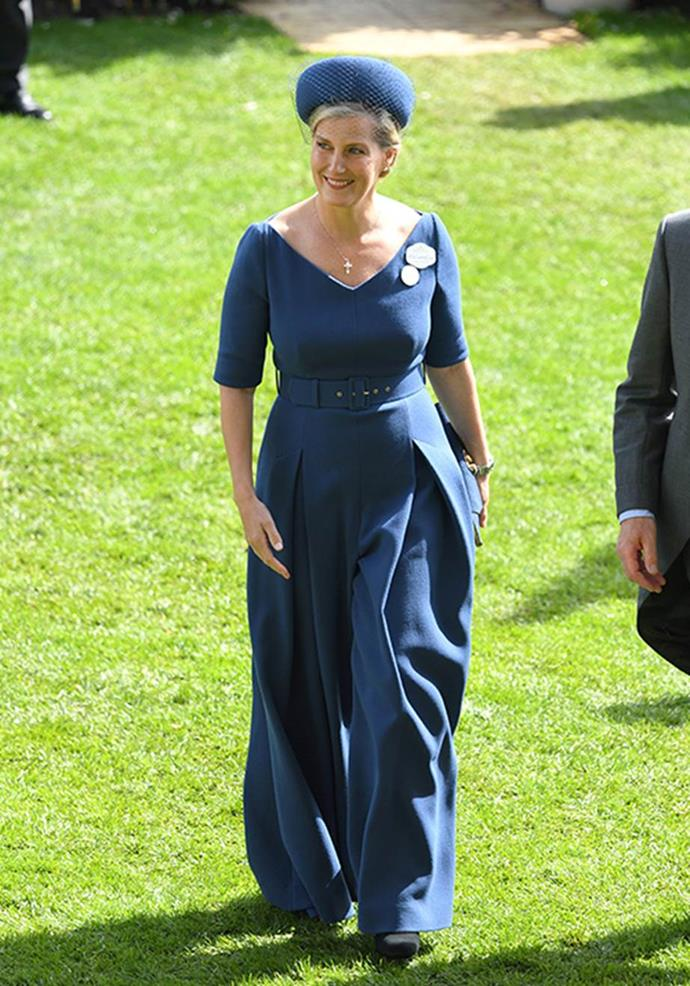 Sophie wore a striking jumpsuit to Royal Ascot in 2019.