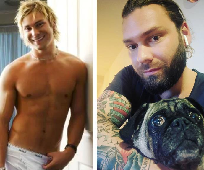 Then and now: Jamie during the peak of his *Big Brother* fame in the pages of *Cleo* magazine (L), cuddling his pet pooch (R).