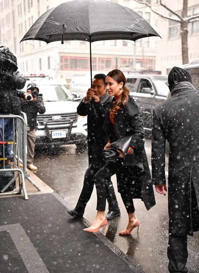 Jessica pictured arriving at Meghan's baby shower in New York City last year.