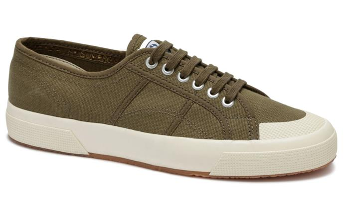 "These khaki Superga sneakers top off the outfit perfectly. $99.95, [buy them online here](https://superga.com.au/products/s00dp10-595|target=""_blank""
