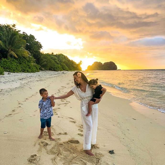 Sunset strolls on the beach with Mum.