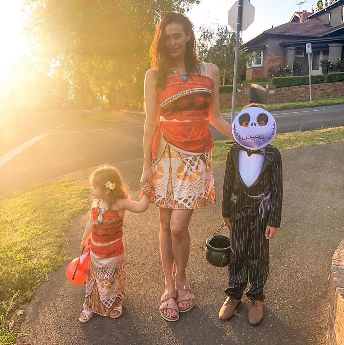 Megan dressed up in matching outfits with Rosie for Halloween, while River definitely looked the part!