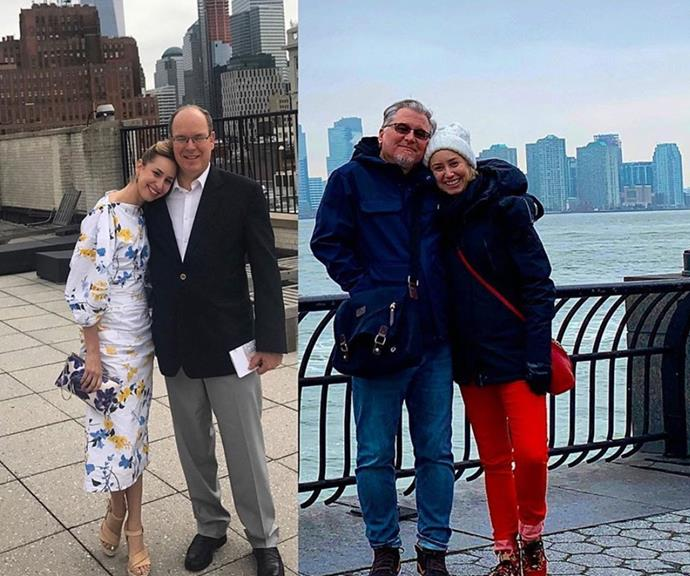 """""""I have been very fortunate to experience a lot of love growing up, and I have been extremely blessed to have two Father figures in my life,"""" Jazmin explained next to these photos, featuring Prince Albert on the left."""