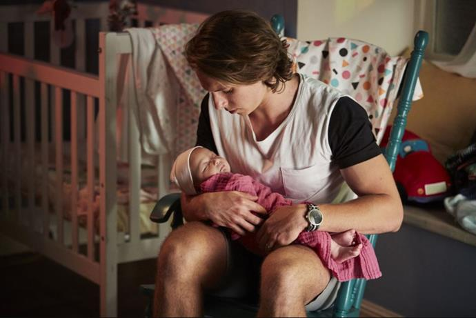 VJ Patterson, son of Leah, soon welcomed a little one of his own to Summer Bay. Well almost... When VJ's wife Billie welcomed daughter Luc, it was revealed her real father was Mick Jennings - who traumatically raped Billie in a shock storyline.