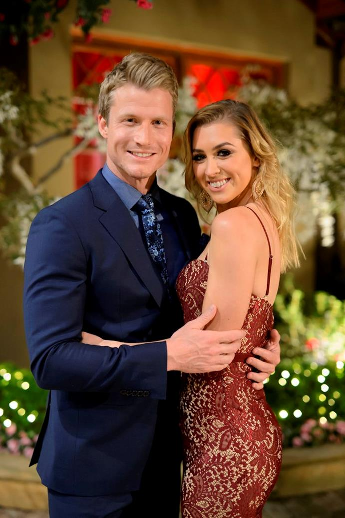 Richie Strahan and Alex Nation on *The Bachelor* in 2016.