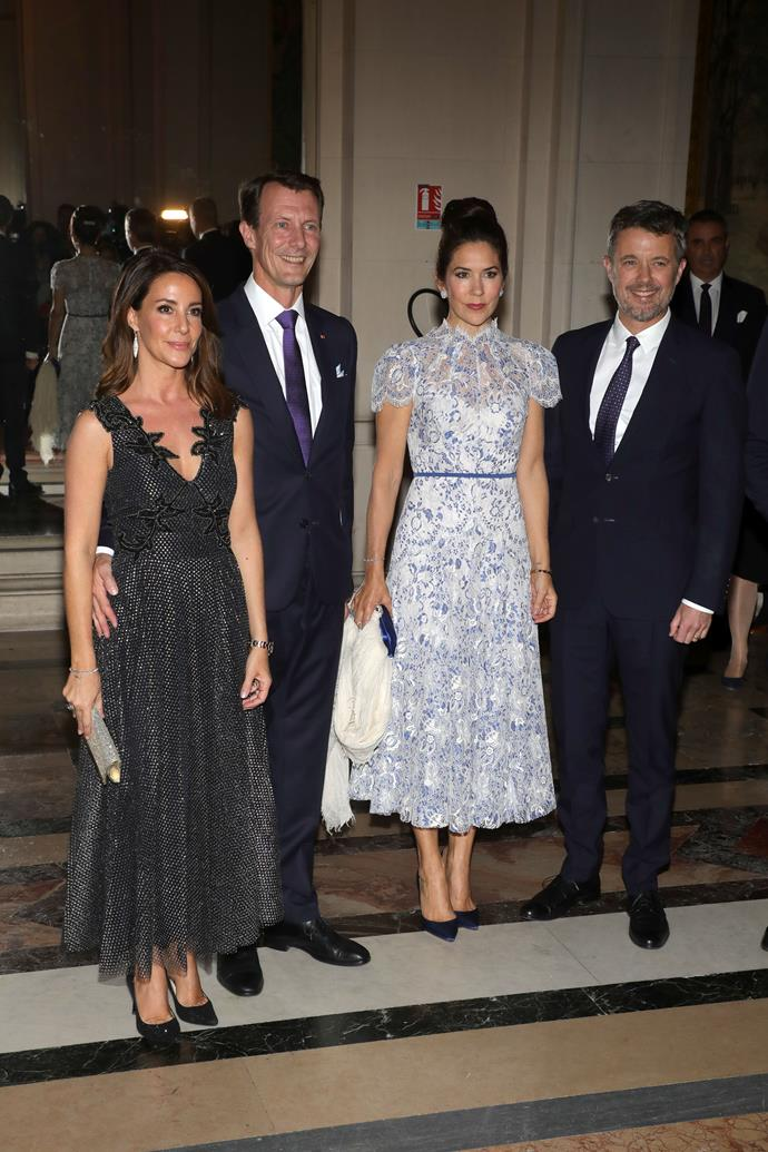 Princess Marie, Prince Joachim, Princess Mary and Prince Frederik fronting the cameras at a glamorous royal event last year.