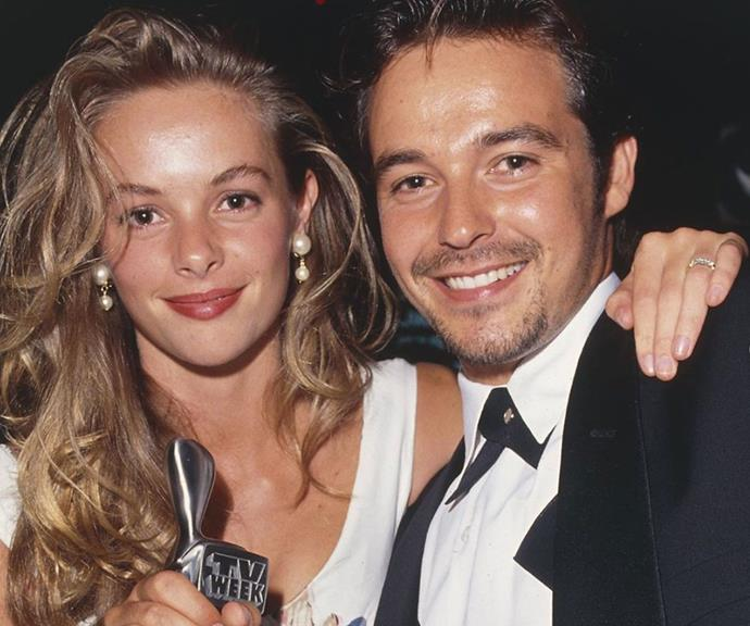 A baby-faced Cameron Daddo and Alison Daddo at the 1992 Logies.