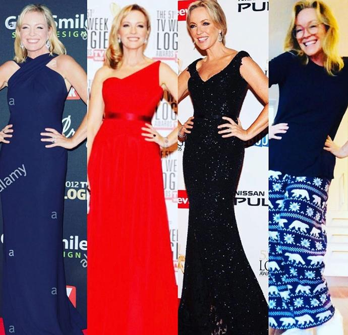 """It would have been Logies night tonight so like a few of my lovely colleagues on Insta here's a few gorgeous past Logies gowns and what I'll possibly be wearing tonight on the couch. Love you @tvweekmag @tvweek -thanks for the many great nights over the years. Looking forward to next year! #putyourlogiesfrocksout #sameposeeverysingletime #illtryanewonenextyear,"" actress Rebecca Gibney penned."
