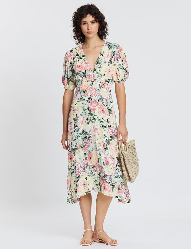 """Kate's *exact* style mightn't be available, but this gorgeous floral design by Faithfull the Brand is its closest cousin. $199, [buy it online via The Iconic here](https://www.theiconic.com.au/vittoria-midi-dress-997120.html