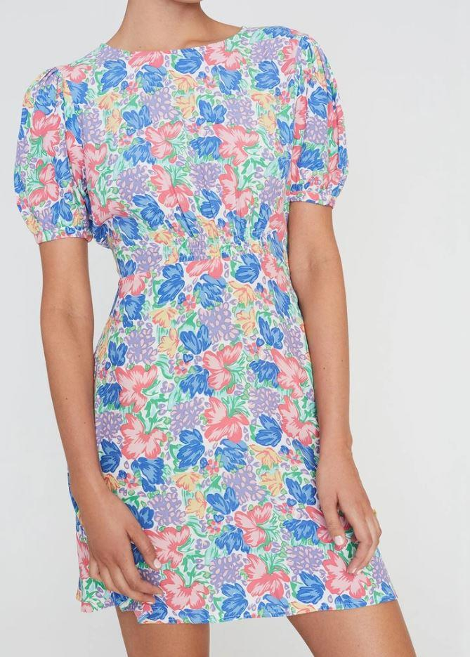 """Or you could opt for a shorter style in this Faithfull the Brand mini dress - featuring a very similar floral design to Kate's. $169, [buy it online here](https://au.faithfullthebrand.com/collections/dresses-maxis/products/sidonie-mini-dressjemima-floral-print