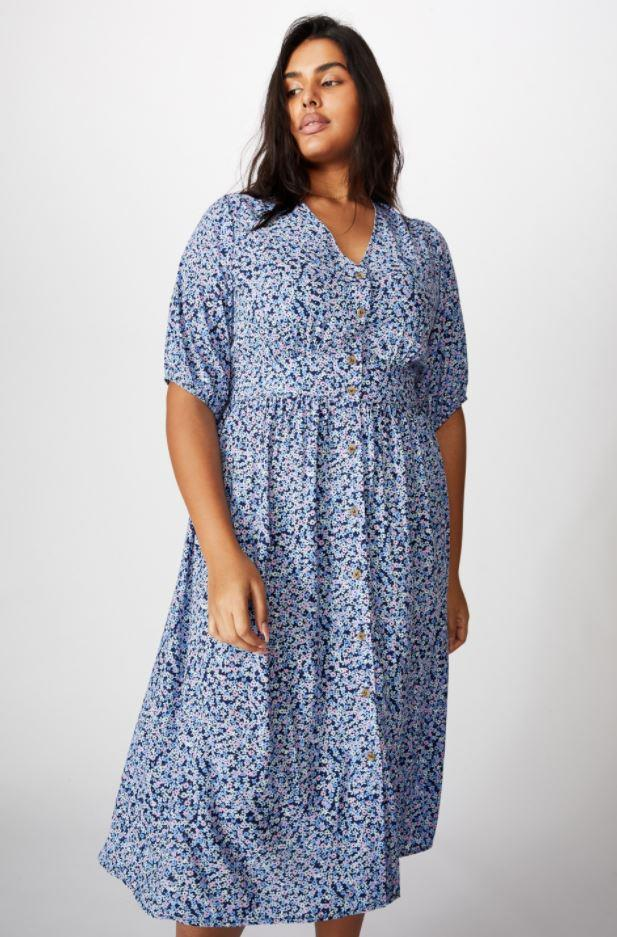 """We're in love with this Cotton On Curve puff sleeve floral frock - and it's super affordable to boot. $44.99, [buy it online here](https://cottonon.com/AU/curve-woven-chloe-puff-slee