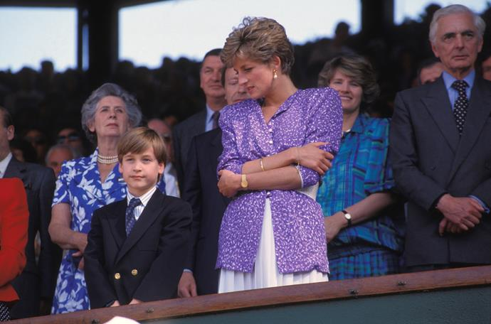 Diana's printed purple design in 1991 caught every eye in the house as she attended with a young Prince William.