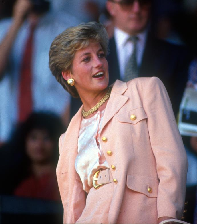 1993 was definitely Diana's year - she added this gorgeous blazer with gold button detailing to the perfect pink ensemble.