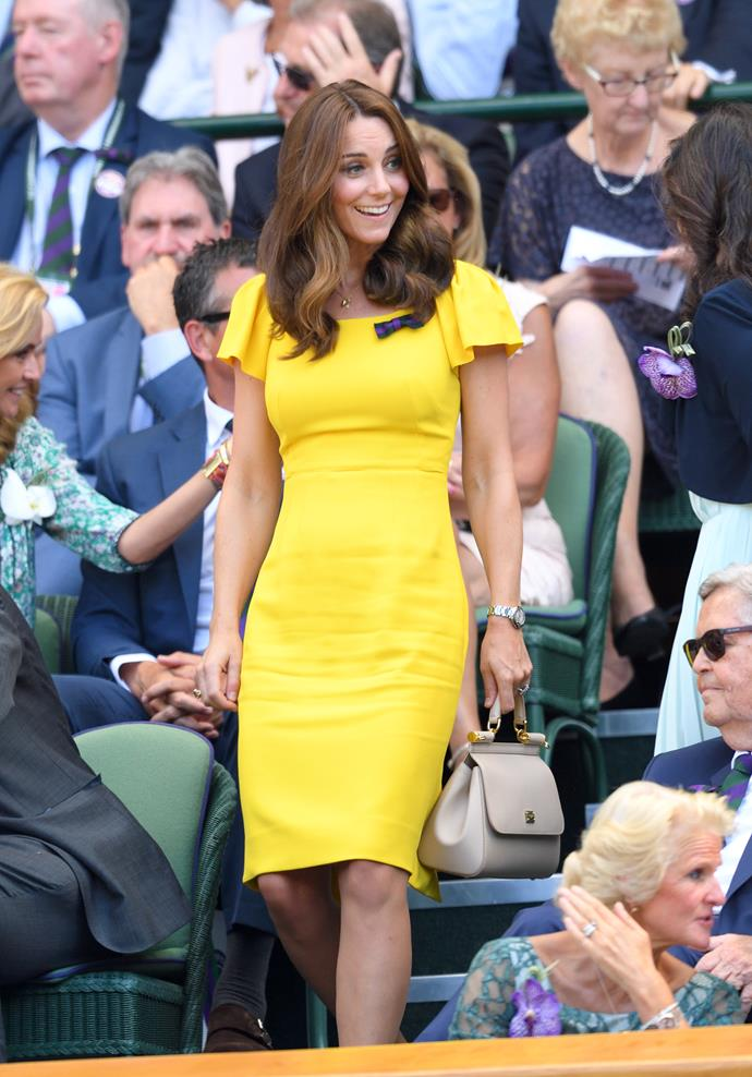 In 2018, Kate's bright yellow Dolce & Gabbana dress was a showstopper - for obvious reasons.