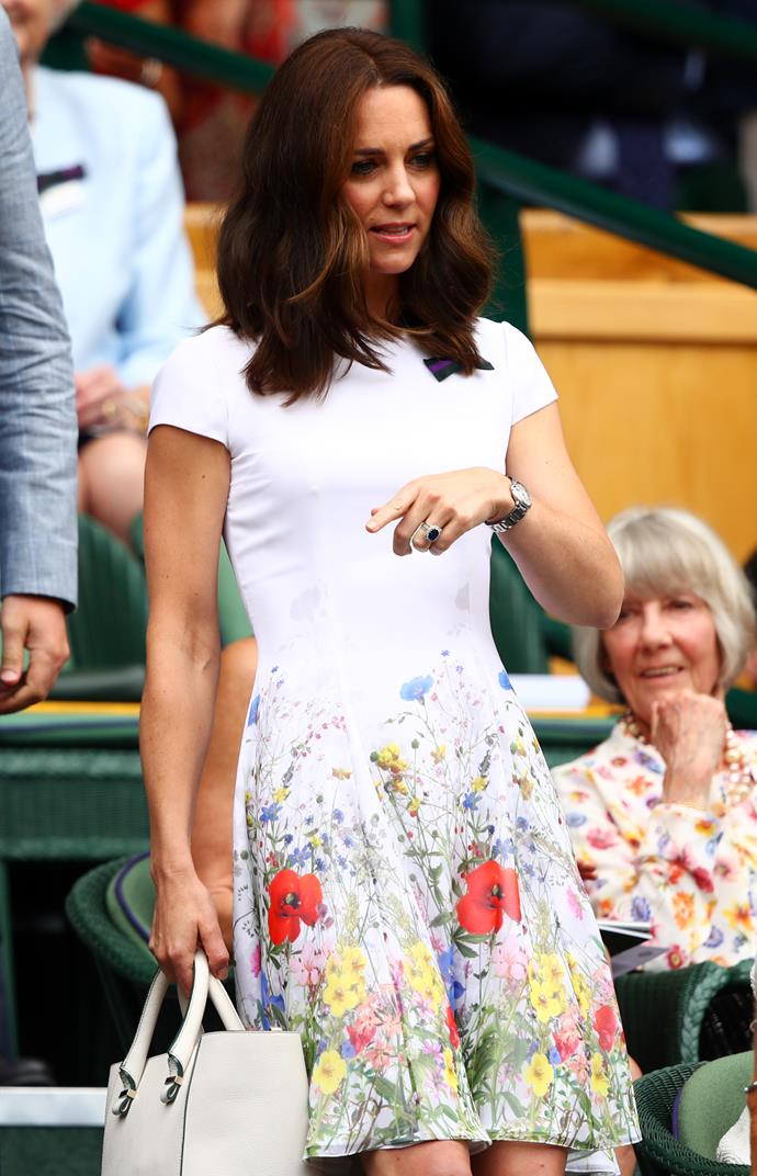 In 2017, the Duchess' Catherine Walker capped-sleeve floral dress was summer perfection.