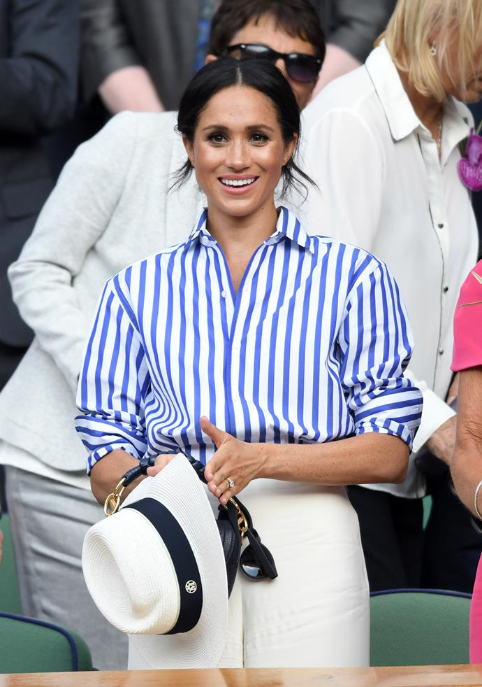 Of course, let's not forget Duchess Meghan's royal debut at Wimbledon shortly after her wedding to Prince Harry in 2018. This shirt and pant ensemble by Ralph Lauren practically catapulted stripes to the top of the trend list.