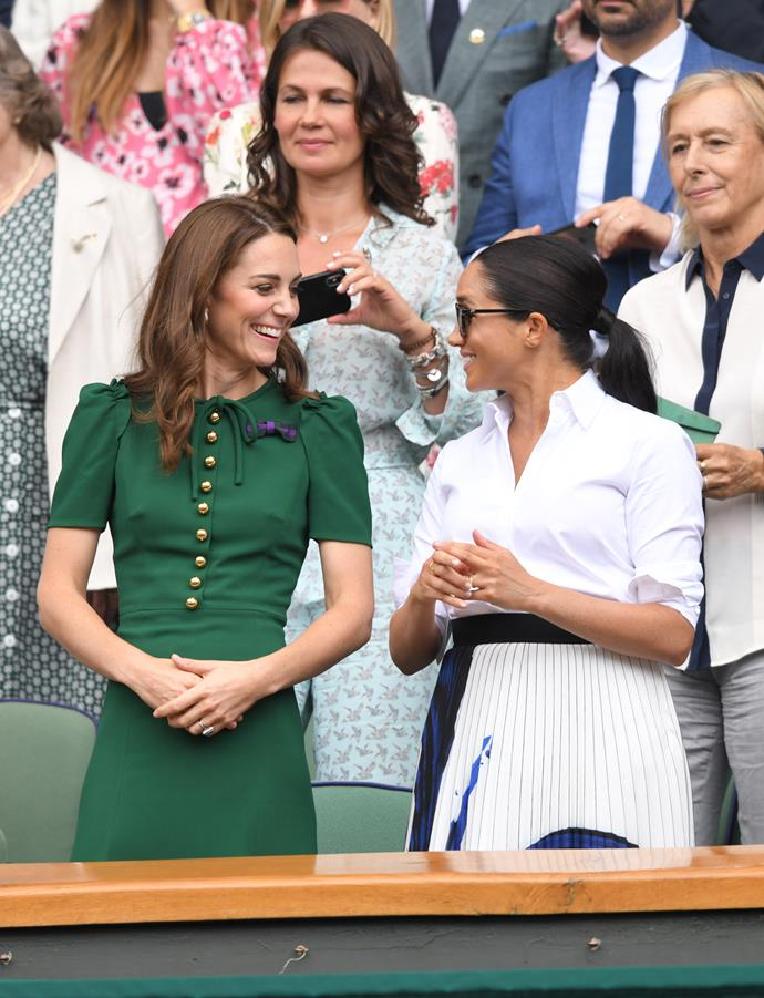 Kate joined Meghan in yet another winning design - this green Dolce & Gabbana dress is, quite frankly, what dreams are made of.
