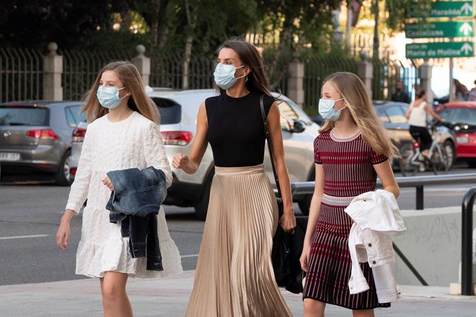 On June 19, Letizia's two daughters Leonor and Sofia donned protective face masks to join their mother at a contemporary flamenco performance at Teatros del Canal.