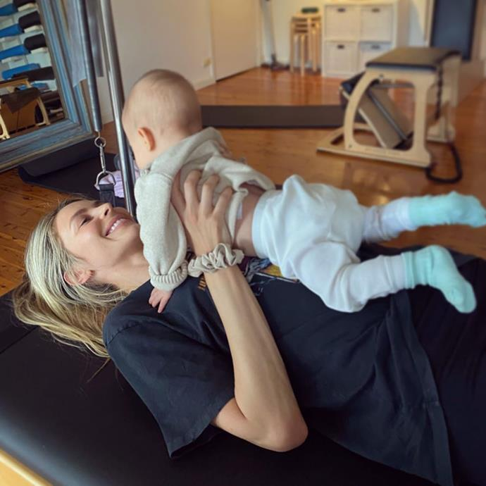Playing with Mum during her Pilates class.