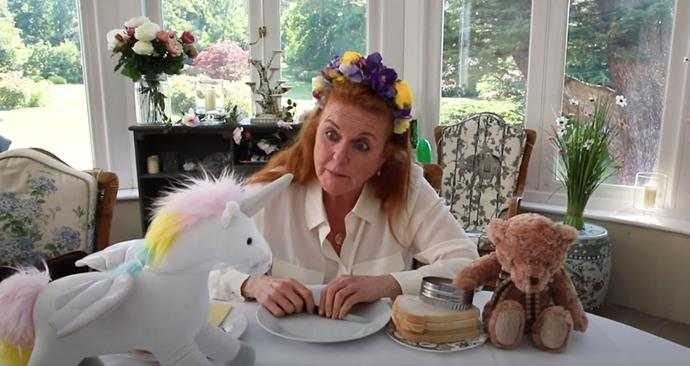 "She's a big fan of flower crowns, clearly. Fergie took a break from story time to show her following how to make ""Monster Sandwiches"" - with a unicorn twist, it seems!"