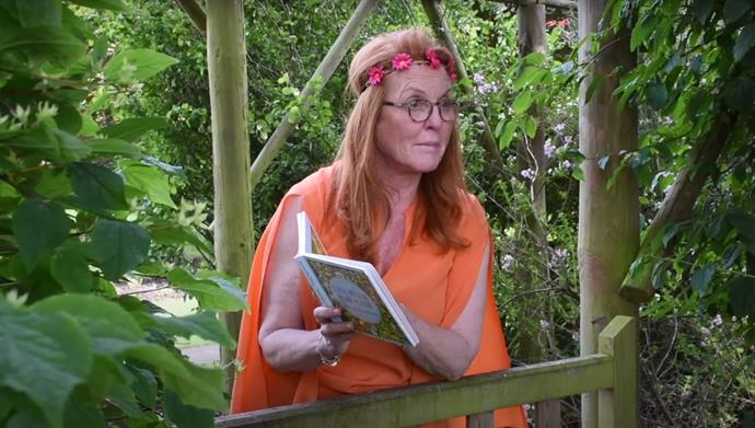 Really getting into character here, Sarah read *Each Peach Pear Plum* by Allan and Janet Ahlberg in the perfect, fairytale-esque outfit... and setting.