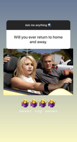 Tessa replied to a fan saying that a *Home and Away* return was never off the table.