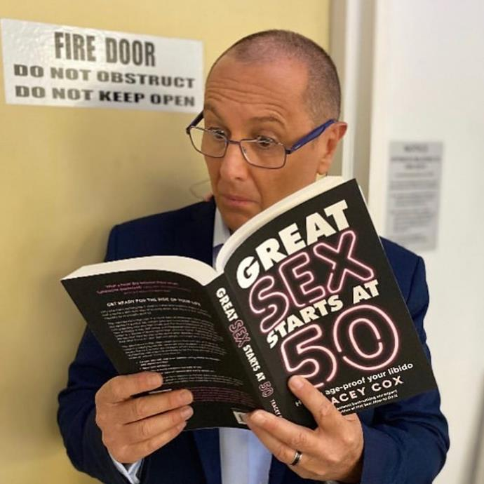 Karl also posted this hilarious photo of *The Morning Show* host Larry Emdur, 55, reading a book titled *Great Sex Starts At 50*.
