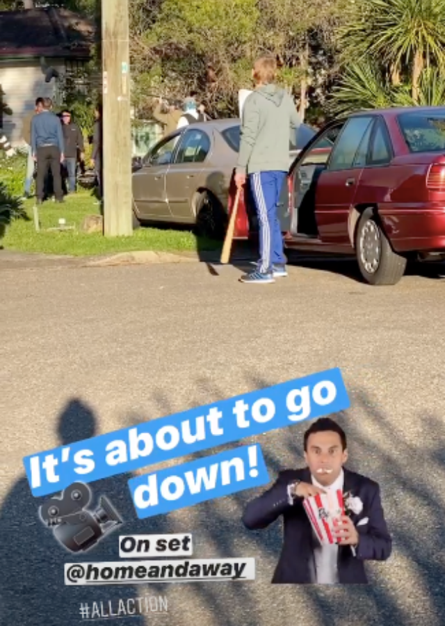 Cam posted this video from the set of *Home And Away*.