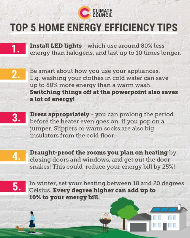 The Climate Council's handy infographic about saving energy at home.