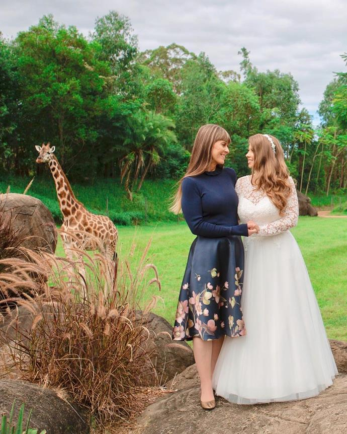 Terri pictured with her daughter on Bindi and Chandler's wedding day.
