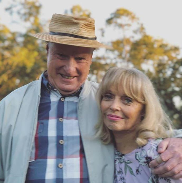 Ray and his on-screen partner Belinda Giblin pose for another sweet snap by Georgie Parker.