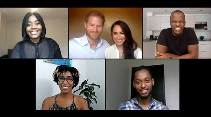 Duchess Meghan and Prince Harry joined in a video call with young leaders helping to pave the way for racial equality.