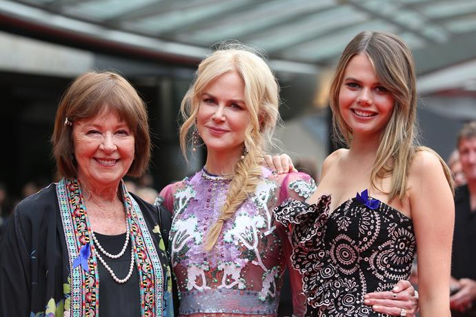 Nicole was joined by her neice Lucia and mum Janelle at the 2018 AACTA Awards in Sydney.