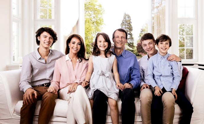 Marie and Joachim with their blended family. They have two children together, while Joachim has two older sons from his first marriage.