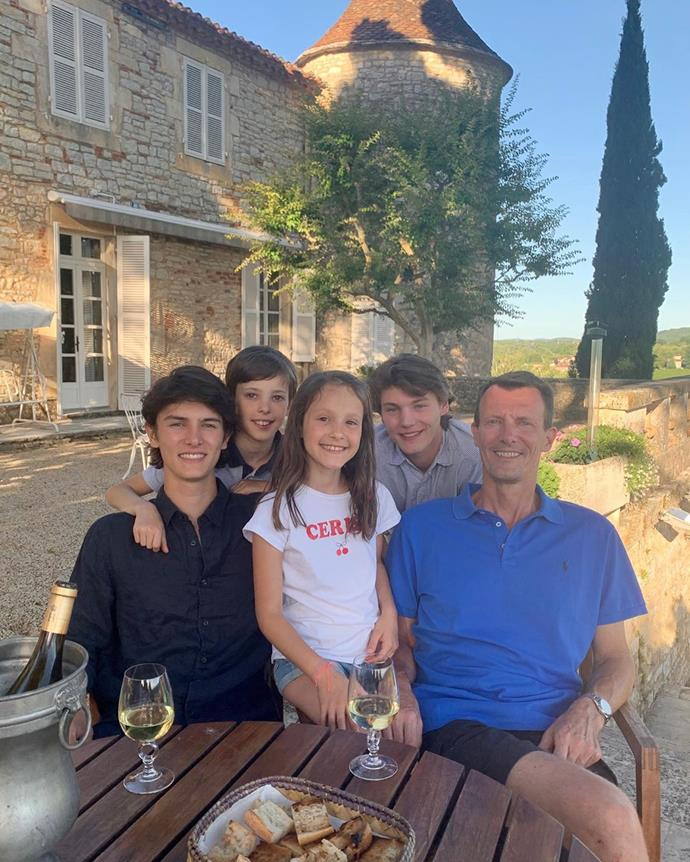 (L-R): Prince Nikolai, Prince Henrik, Princess Athena and Prince Felix with their father, Prince Joachim.
