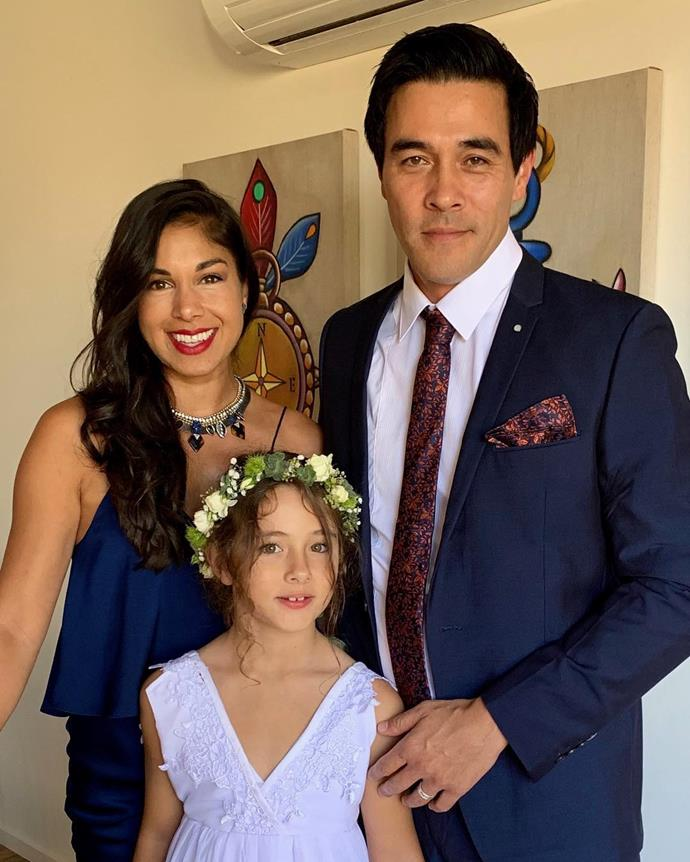 Sarah, James and his daughter Scout, all glammed up for a loved one's wedding.