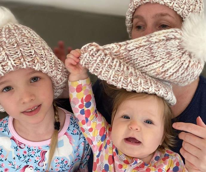 While Fifi's oldest daughter Trixie, seven, was more than willing to model her beanie, one-year-old Daisy wasn't so keen.