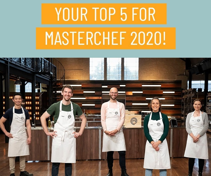 The top five contestants on *MasterChef's* Back To Win season in 2020.
