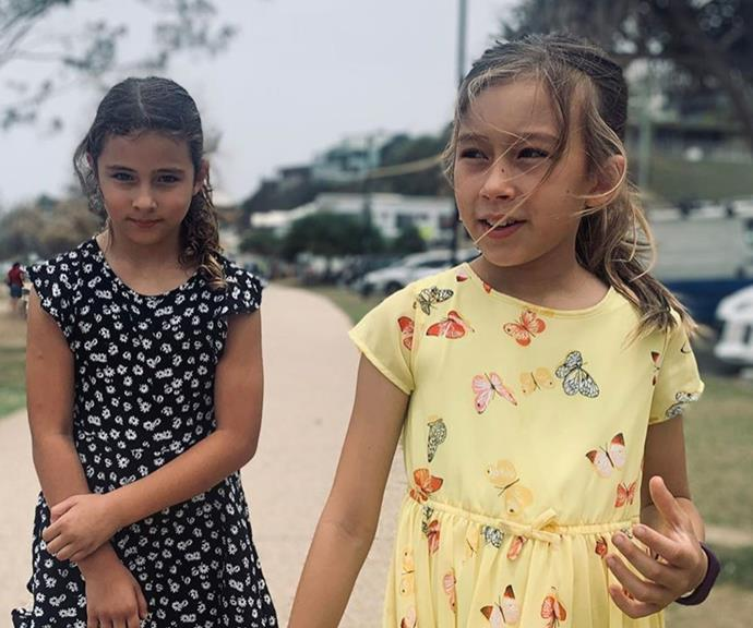 "Best friends and cousins Scout (L), whose [mother is actress Jessica Marais](https://www.nowtolove.com.au/parenting/celebrity-families/jessica-marais-daughter-63795|target=""_blank""), and Grace (R) are just a year apart."