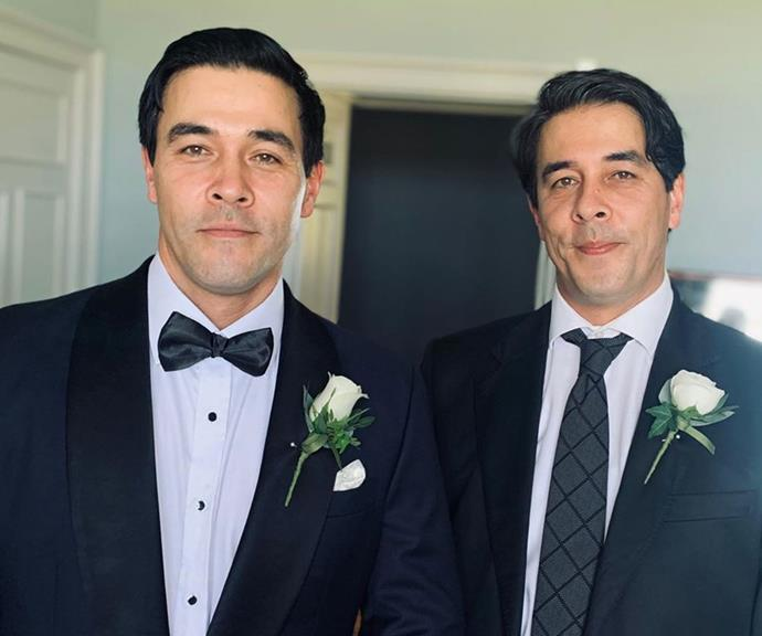 "The dapper duo on James' [wedding day last year.](https://www.nowtolove.com.au/celebrity/celeb-news/james-stewart-sarah-roberts-wedding-57276|target=""_blank"")"