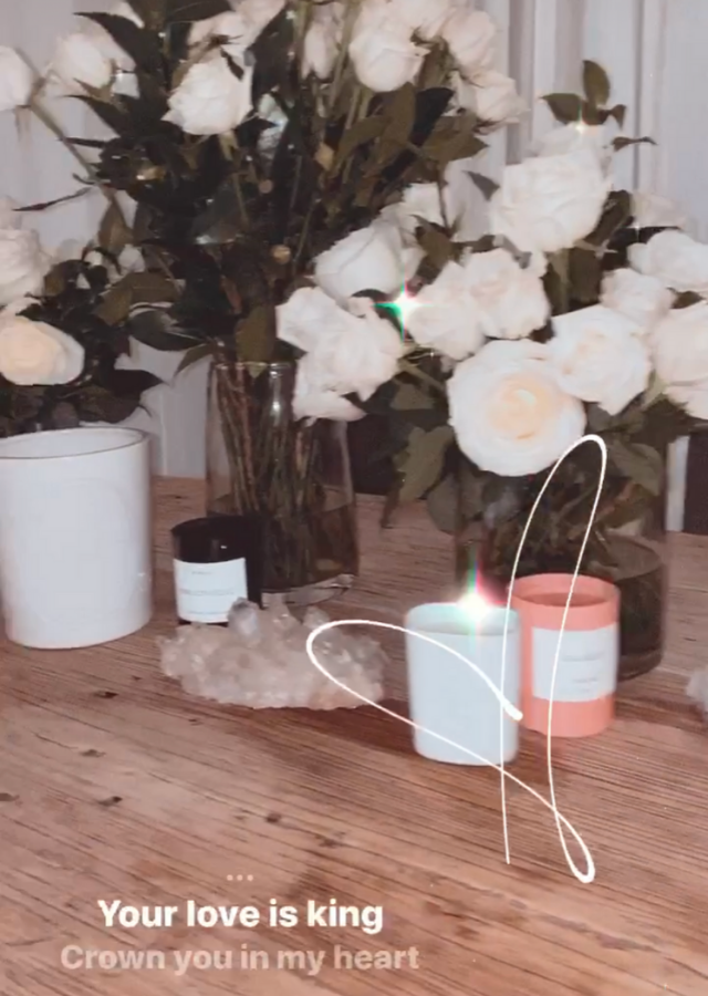 She shared another image of the roses arranged in vases inside her Sydney home.