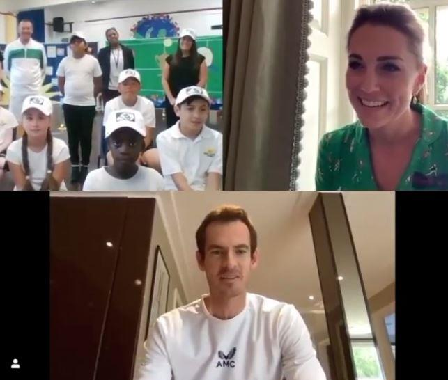 Kate was joined by Andy Murray in a surprise video call with young tennis enthusiasts.